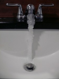 picture of frozen water in bathroom
